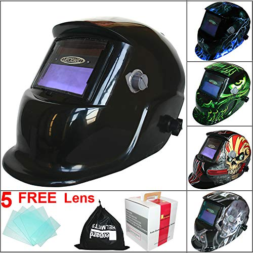 Leopard LEO-WH86 Solar Powered + Auto-Darkening + Grinding Function + 9-13 Shade Welding Helmet Mask (Black) with 5 Free Spare Lenses Test