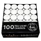 #10: Novelty Round Wax Tea Light Candles (3.7 cm x 3.7 cm x 1.2 cm, White, Set of 100) 4 Hours