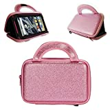 E-Den® Alcatel Pixi 3, Pixi 4 (7-Inch, Android) Tablet Case - Glitter Effect Zipped Tablet Bag and Stand, Pink