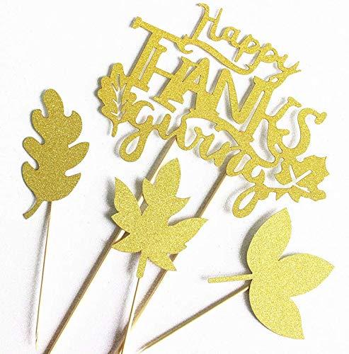 Astra Gourmet Happy Thanksgiving-Kuchenaufsatz mit 12 Herbstblättern, Cupcake-Topper - Herbst-Danksgiving, Party-Zubehör