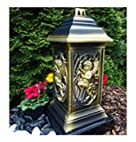 ♥ GRABLATERNE MIT Engel Bronze Gold incl.GRABKERZE 36,0cm GRABSCHMUCK Herz GRABLEUCHTE Friedhof Grablicht