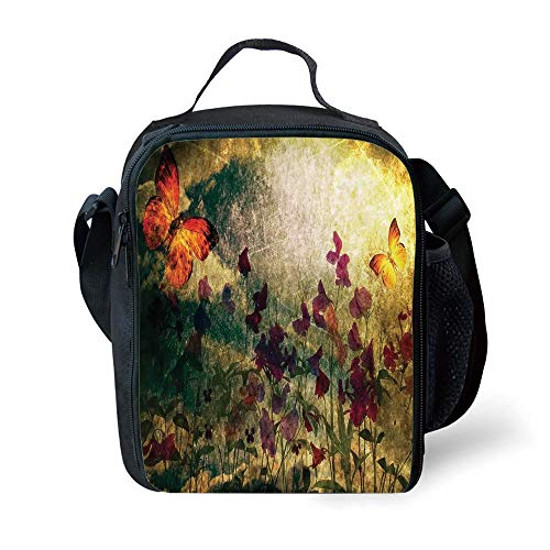 School Supplies Butterfly,Vintage Inspired Burnt Murk Design with Poppy Flowers on Meadow Retro Old Style,Multicolor for Girls or Boys Washable Butterfly Meadow Box