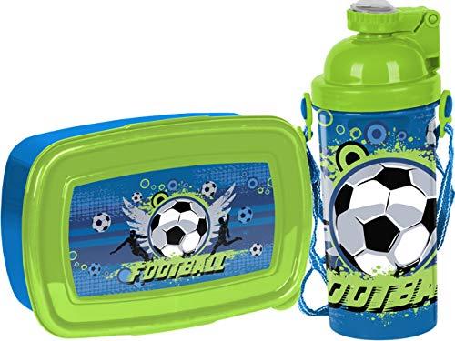 SCOOLSTAR Lunch Set | Brotdose und Trinklasche mit Fußballmotiv | BPA Free