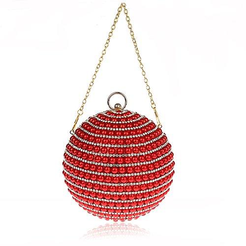 KAXIDY Forma Unica Pochette Donna Elegante Pochette da Sera Perline Incastonato Borsetta Da Sera Rosso