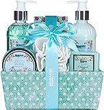 BRUBAKER Set Bagno e Doccia 'Chamomile Fresh Cotton' cura Idratante di camomilla - Set regalo di 7 pezzi in un cestino decorativo