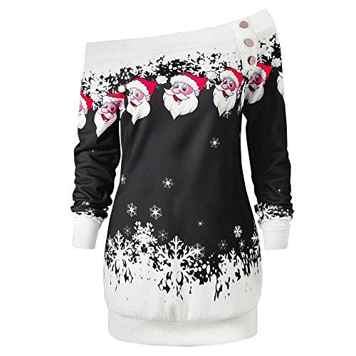 Yvelands Damen Weihnachten Lange Sleeve Sweatshirt Herbst Winter Festlich Frauen Santa Snowflake Printed Off Schulter Asymmetrische One Shoulder Button Langarmpullover Print Tops