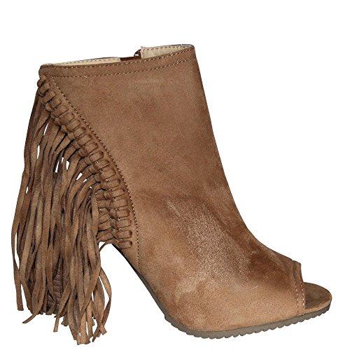 Hippie Sommer-Stiefelette Stiefel Damenschuhe mit 9 cm Blockabsatz, Cut-Out und Peep-Toe Fransen in Camel, Schwarz, Gelb NEU V1601 (41, Camel) (Hippie Schuhe)
