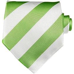Corbata TNS, clásica a rayas, con gemelos y pañuelo Verde White & Green Talla única