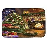 huichang Weihnachten Deko Fußmatte, Türmatte Fußabtreter Rutschfest & waschbar Teppiche Hochflor 40 x60 cm (D)
