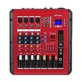 ammonio Mixer Audio Digitale a 4 Canali Consolle di Miscelazione con Amplificatore di Potenza 48V Potenza Fantasma Interfaccia USB per la Registrazione di DJ Stage Karaoke