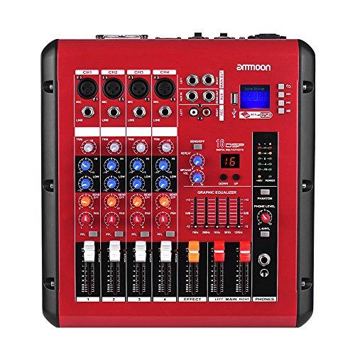 Ammoon-Mischer 4-Kanal Digital Audio-Verstärker Leistung 48V Power Gespenst Schnittstelle USB-Mischung mit Funktion Konsole für die Aufzeichnung DJ Stage Karaoke (Konsole Mixer Verstärker)