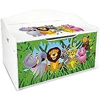 Preisvergleich für Leomark Groß Holz Kindertruhenbank XL Kinderbank Truhenbank Motiv: Dschungel tiere. Behälter für Spielzeug, Sitzbank mit Stauraum für Spielsachen