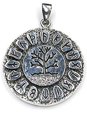 Runen Lebensbaum Schmuck Anhänger 925 Silber, Länge mit Öse: 4,5cm Runenschmuck