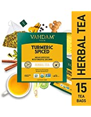 VAHDAM, Turmeric Spiced Herbal Tea Tisane  15 Pyramid Tea Bags   Brew Hot, Iced or Chai Latte
