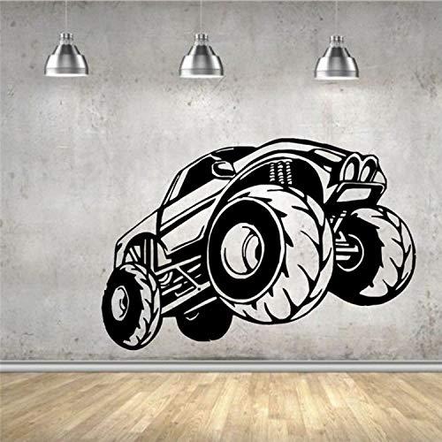qazwsx Wandaufkleber Vinyl Aufkleber Dekoration Rennwagen Monster Truck Big Wheels Wohnzimmer Wandtattoos Wandaufkleber DIY Tapete 58X87Cm