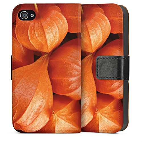 Apple iPhone 4 Housse Étui Silicone Coque Protection Fruits Plante Légume Sideflip Sac