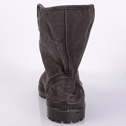 Natural World Vegan Bota Boton 2516 Woman Black Gris
