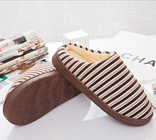 Pantoufles en coton à rayures fines en hiver ( couleur : # 1 , taille : 43-44 ) # 1