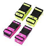 TechSmile 4-Stück Koffergurt Gepäckgurt Kofferband (Fluoreszierend gelb + stieg rot)
