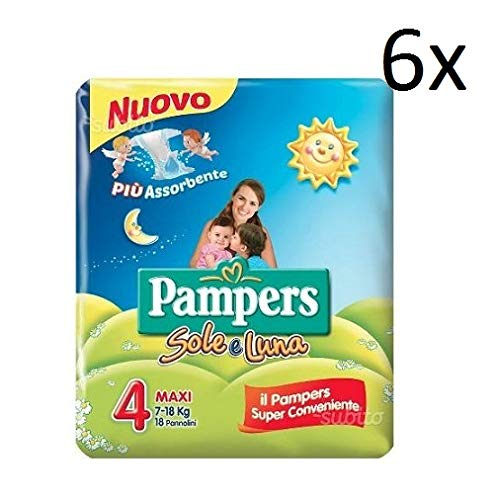 6x Pampers sole e luna Gr.4 18 Windeln 7-18 kg kinder baby diapers Packung