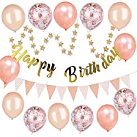 VEYLIN 16 Pieces Rose Gold Birthday Party Supplies - Gold Happy Birthday Bunting Banner Star Garland Rose Gold Triangle Garland with Champagne Rose Gold Balloons