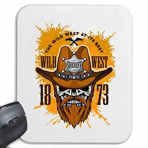"""Preisvergleich Produktbild Mousepad (Mauspad) """"WILD WEST COWBOY SHERIFF INDIANER WESTERN INDIANER HÄUPTLING ROTHAUT WESTERN INDIANS"""" für ihren Laptop, Notebook oder Internet PC .. (mit Windows Linux usw.) in Weiß"""