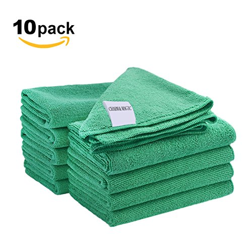 CHARM & MAGIC Mikrofaser Reinigungstücher 40 x 40CM für Staubwischen Küche Büro Grün 10 Stück