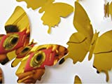 #10: SYGA 12Pcs 3D Decorative Gold Mirror Butterfly Wall Stickers