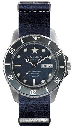 OXYGEN - EX-DV-JEA-42-NL-JE - Montre Mixte - Quartz - Analogique - aiguilles luminescentes - Bracelet Cuir Bleu