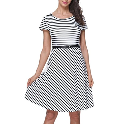 Damen Kleid Yesmile Ärmel Lose Gestreiften Locker Dress Beach Party Casual Kleid Sommer Täglich Casual Tank Kleid Mode Blusenkleid Langarm Verlieren Tunika Kurzarm T-Shirt Kleid (L, Weiß-1) (Kleid Casual Shirt-button)