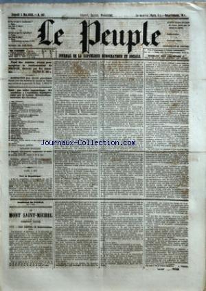 PEUPLE (LE) [No 167] du 05/05/1849 - COMITE DEMOCRATIQUE-SOCIALISTE DES ELECTIONS - MM. BAC - CARET - CHARASSIN - CONSIDERANT - D'ALTON-SHEE - DEMAY - GENILLER - GREPPO - HERVE - HEZAY - LAGRANGE - LAMENNAIS - LANGLOIS - LEBON - LEDRU-ROLLIN - LEROUX - MADIER DE MONTJAU - MALLARMEE - MONTAGNE - PERDIGUIER - PROUDHON - PYAT - RIBEYROLLES - THORE ET VIDAL