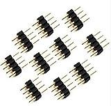 DaoRier 4 Pin Pol Kabel Verbinder Kupplung Adapter 4 polig RGB LED Stecker für RGB 5050 3528 LED Strip Schwarz (20 Stück)