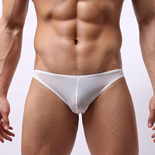 RRRRZ* Männer flaches männliche Unterwäsche Unterwäsche ist transparent 3 Ecke Hosenbügler und schieben Sie die Sexy Männer Unterwäsche, XL, Weiß