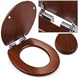 Abattant lunette cuvette de toilette WC frein de chute effet bois