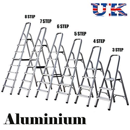 Escalera de aluminio plegable para el hogar, peso ligero, capacidad de 150 kg, 3 pasos, 5 pasos, 6 pasos...