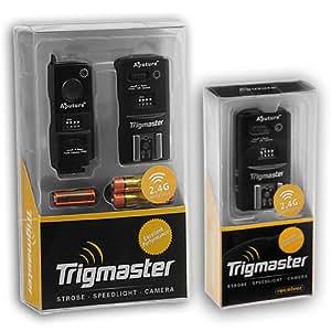 Aputure 2.4Ghz Trigmaster Kit (Un transmetteur + 2 récepteurs) Radio Télécommande Déclencheur Flash et publication câble d'obturation, convient Panasonic Lumix DMC-G1, G2, G3, G10, GX1, GH1, GH2, GF1, DMC-L1, L10, DMC-FC100, FZ150, entièrement compatible avec Panasonic DMW-RSL1, DMW-RS1