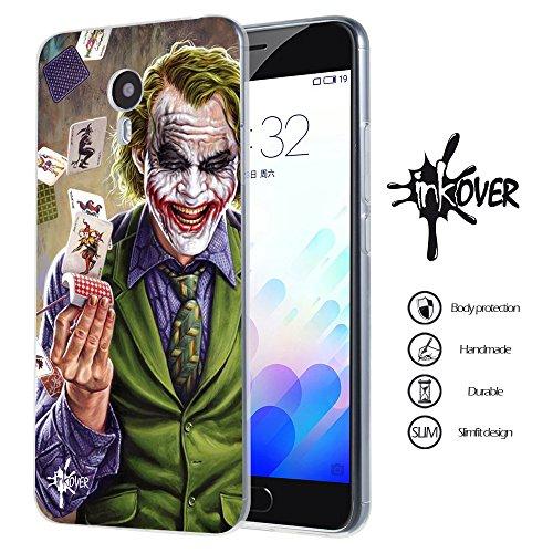 INKOVER Cover Meizu M5S Custodia Cover Trasparente Sottile Slim Fit TPU Gel Morbida Design Joker Smile Cavaliere Oscuro Bat Man per Meizu M5S