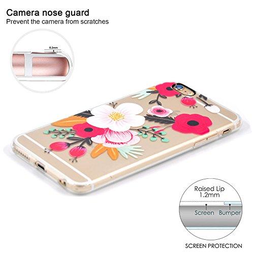 Cover iPhone 6, Cover iPhone 6S, OFFLY [Fotocamera Nera] Morbida Silicone Trasparénte Sottile (TPU) Protettiva Custodia, Stampa Protezione Cover Case per Apple iPhone 6 / 6S - Fenicotteri Fiori(2)