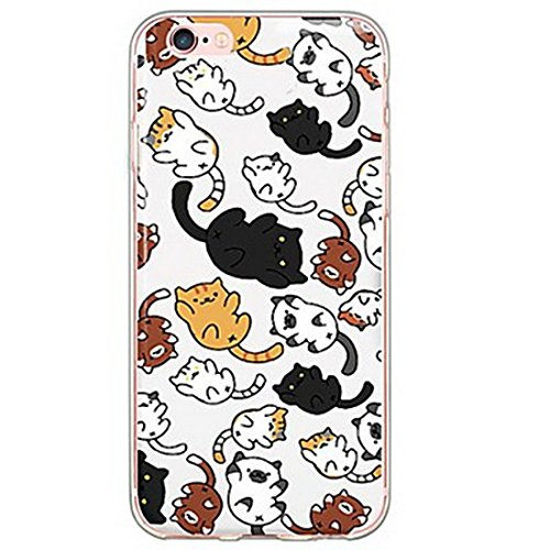 SecondDromi Beaucoup de modèle Mignon de Chat Paresseux Silicone Coque pour iPhone Se, pour iPhone 5,Multi-Coloured-Coloured
