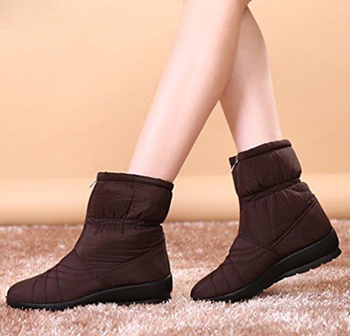 Yiiquan Femmes Moyen Age Bottes D'hiver En Plein Air Étanche Chaud Chaussures Plates Cheville Bottines Brun