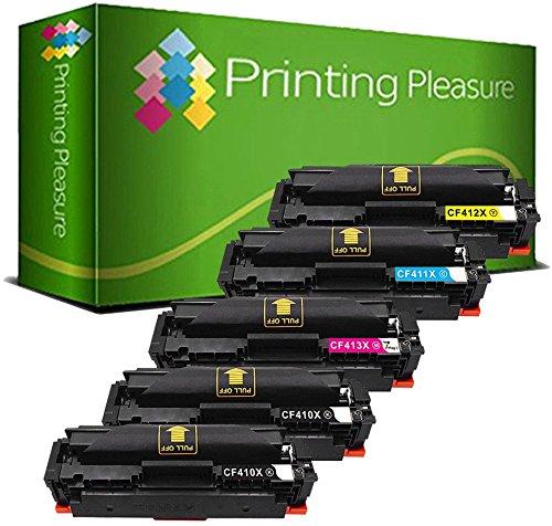 Printing Pleasure 5 Compatibles CF410X CF411X CF412X CF413X 410X Cartuchos de tóner para HP Laserjet Pro MFP M477fdn M477fdw M477fnw M452dn M452nw M452dw - Negro/Cian/Magenta/Amarillo, Alta Capacidad