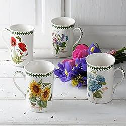 Botanic Garden-Set di 4Tazze, Porcellana, Multicolore, 8.5x 12x 10.5cm