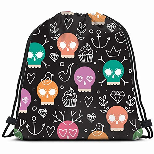 fjfjfdjk Colorful Day Dead Fun Miscellaneous Drawstring Backpack Gym Sack Lightweight Bag Water Resistant Gym Backpack for Women&Men for Sports,Travelling,Hiking,Camping,Shopping Yoga (Lunch Specials Halloween)