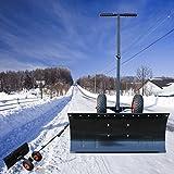 Tatayang Pala da neve, pala da neve, pala da neve con asta di spinta regolabile in altezza e ruote, attrezzi per la pulizia della neve da giardino