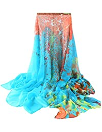 ZORJAR Pointed Twill Chiffon Sarong Wrap Beach Cover Up Large Oversize scarf 78x57 Inches