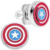 Con licencia oficial de Capitán América con acero inoxidable pendientes del perno prisionero