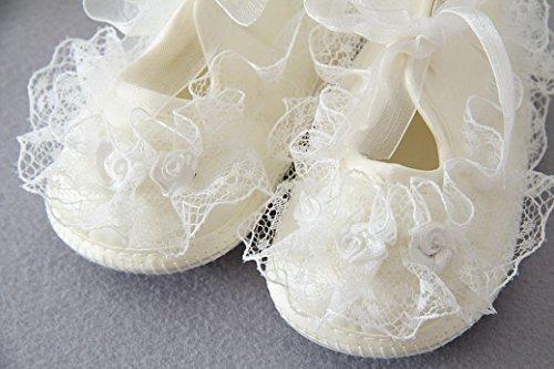 Happy Cherry Baby schuhe Neugeborene Spetze Schuhe Monate Krabbelschuhe Mädchen Lauflernschuhe mit Blumen Babyschuhe Innenlänge - Größe/Farbe Wählbar Beige