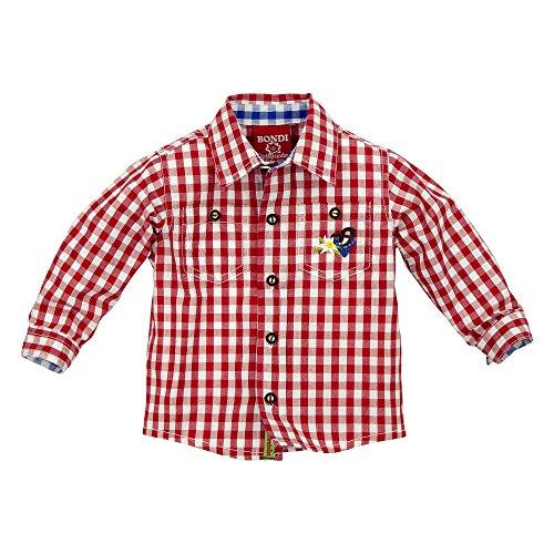 BONDI Karohemd ´Hirsch´, karo rot/weiss 116 Tracht Baby Jungs Artikel-Nr.90705