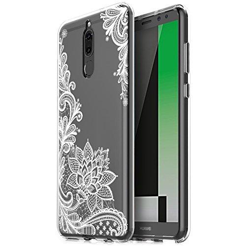 Eouine Huawei Mate 10 Lite Hülle, Ultra Slim Soft TPU Muster Schutzhülle Silikon Stoßfest Bumper Case Cover für Huawei Mate 10 Lite (5,9 Zoll) Smartphone (weiße Blume) -