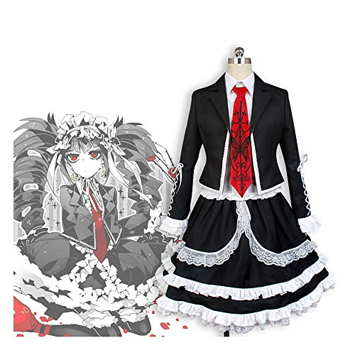 Vokaer Danganronpa V3 Cosplay Kostüm Celestia Ludenberg Schwarzes Spitzenkleid Halloween Party Damen Gothic Cosplay Uniform Outfit,Celestialudenbeck,S (Celestia Ludenberg Kostüm)